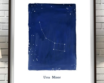 Zodiac, Ursa Minor constellation, stars, cosmos, printable wall art, astrology