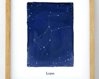 Zodiac, Lupus constellation, stars, cosmos, printable wall art, astrology