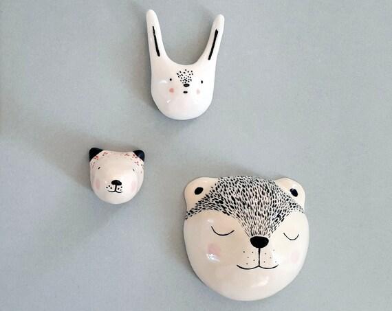 Rabbit, bear, fox - Ceramic miniatures - moose gift - children's room decoration - birth gift - Wall deco