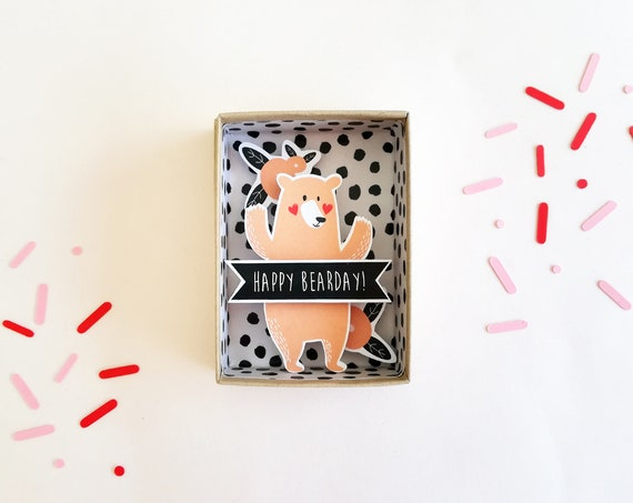Happy bearday message box  / Miniature Art / Diorama / 3d Art / Decorative Matchbox / Miniature paper diorama / Friend message