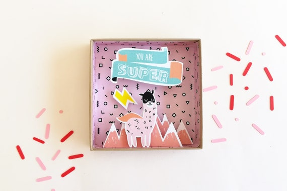 You are super illustration lama large message box / matchbox / birth gift /Super hero / Lama illustration