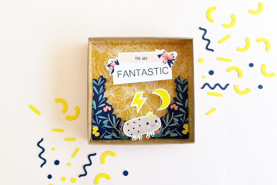 You are fantastic large message box / matchbox / miniature paper diorama / Decorative Matchbox / Birth Message