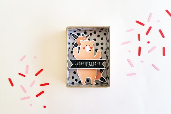 Happy bearday message box  / Miniature Art / Diorama / 3d Art / Decorative Matchbox / Miniature paper diorama / Friend message