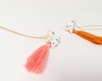 Cat animal pendant necklace, lucky jewel, porcelain necklace, cat pendant, pompom necklace, women's jewelry, women's Christmas gift