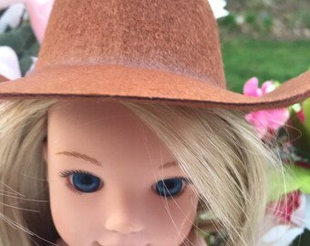 2 Pc Pink Plastic Mini Doll Cowboy Cowgirl Hat for Wear Prop Craft