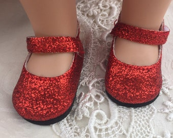 H4H Red Glitter Mary Jane Shoes Fit American Girl Wellie Wishers Dolls