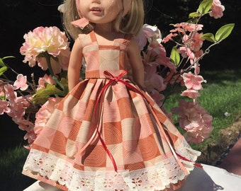 Wellie Wisher Doll Clothes fall harvest Halloween doll dress 14.5 inch doll clothes lace edge design by be Just Me Doll Clothes