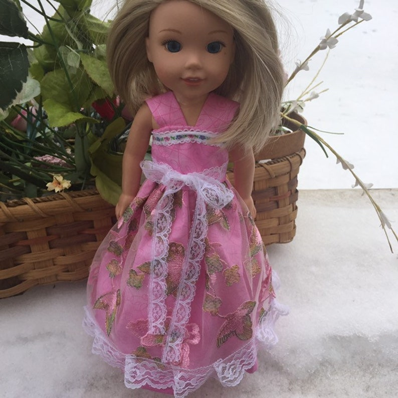 American Girl Doll Clothes Wellie Wisher Doll dress 14.5 inch gown 3D butterfly fabric Maryellen Pretty Pink Prom Dress Last One