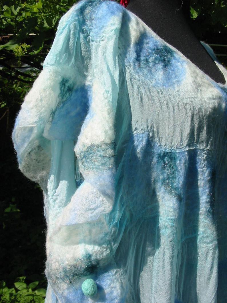 Nuno felt kimono blouse-shine blue handmade,OOAK