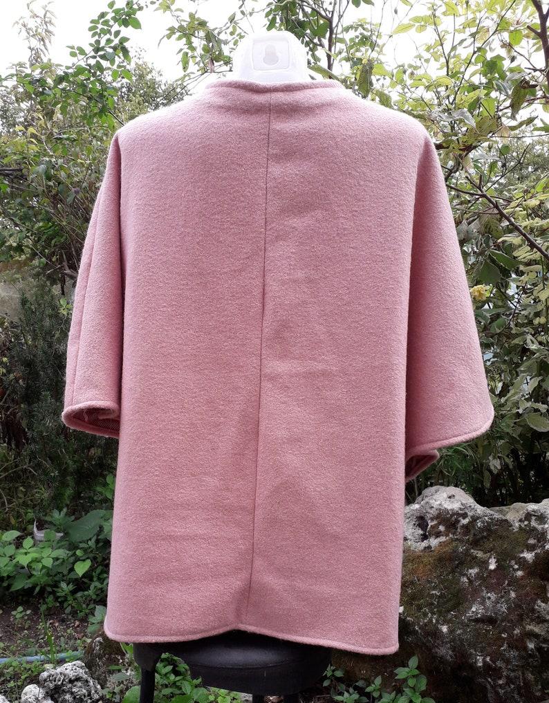 Pink Art Textile Poncho Type Coat Hand Drawn Design  by Needle Felting Pure Wool Boucle Textile Base One Size Vest