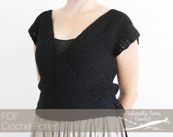 9ea497705476 Crochet Pattern  The Rene Wrap Top- Adult Womens Extra Small Medium Large  Ballet Sweater Classic Style