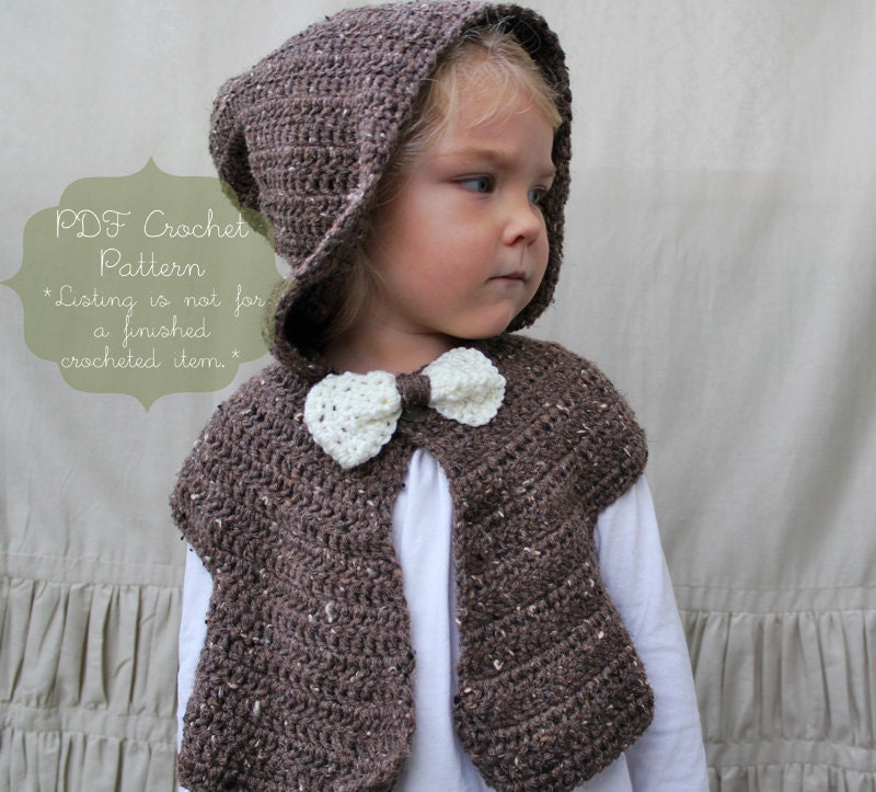 Crochet Pattern: The Cora Hooded Capelet -Toddler, Child, & Adult Sizes-  bow, hood, shrug, shawl