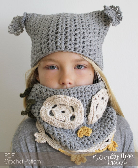 Crochet Pattern Luna The Owl Hat And Cowl Set Toddler Child Etsy