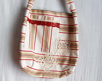 Cream burgundy shabby chic striped tote bag - Ready to ship