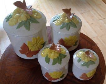 Set Of 4~Vintage Ceramic Canisters~BUTTERFLIES~EMBOSSED~BEAUTIFUL