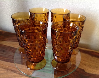 Vintage INDIANA GLASS Footed Glassware~Whitehall Pattern~Set of 6