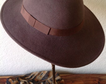 Vintage Lancaster Women s Fedora Hat Brown Wool Size 7 941459434