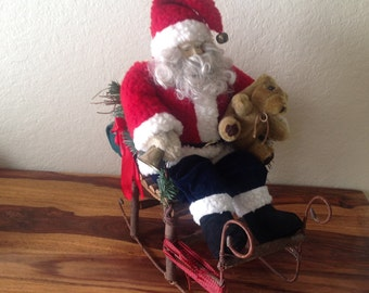 aad50125b Vintage~Large Christmas Santa Claus In Sleigh~Wood~Willow~Booty  Bag~16