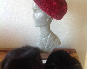 46ae6386017dd Vintage Lot of 3 Faux Fur Pillbox~Beanie Hats
