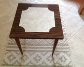 Mid-Century Modern Formica Coffee Side Table with Marble Inset Wood Legs