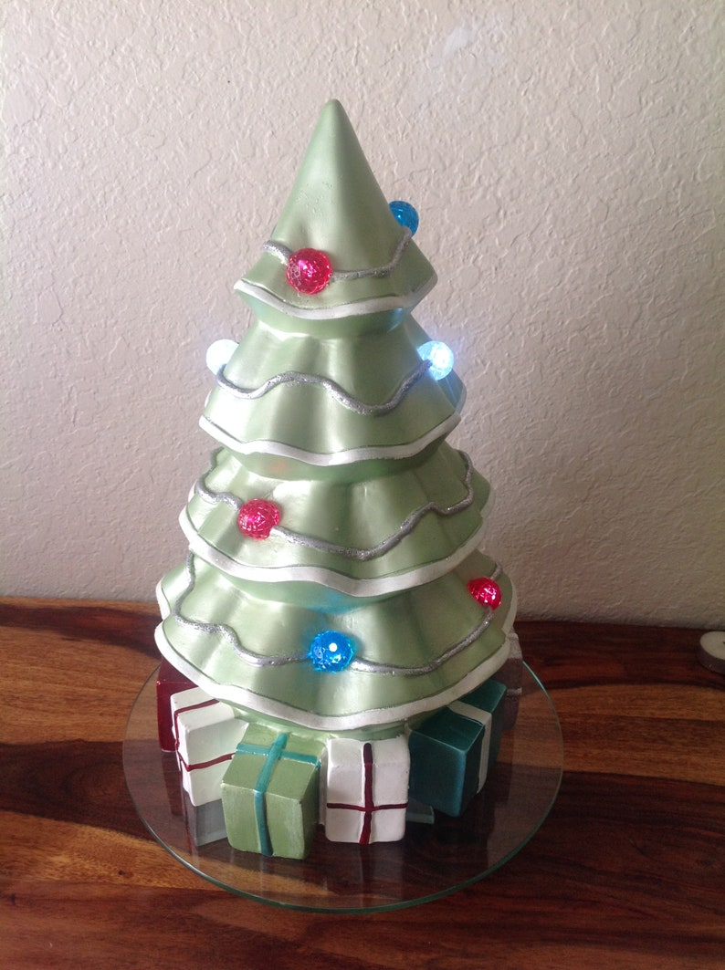 Ceramic Christmas Tree W Large Ornaments Packages Under Tree Battery Lit 15 5