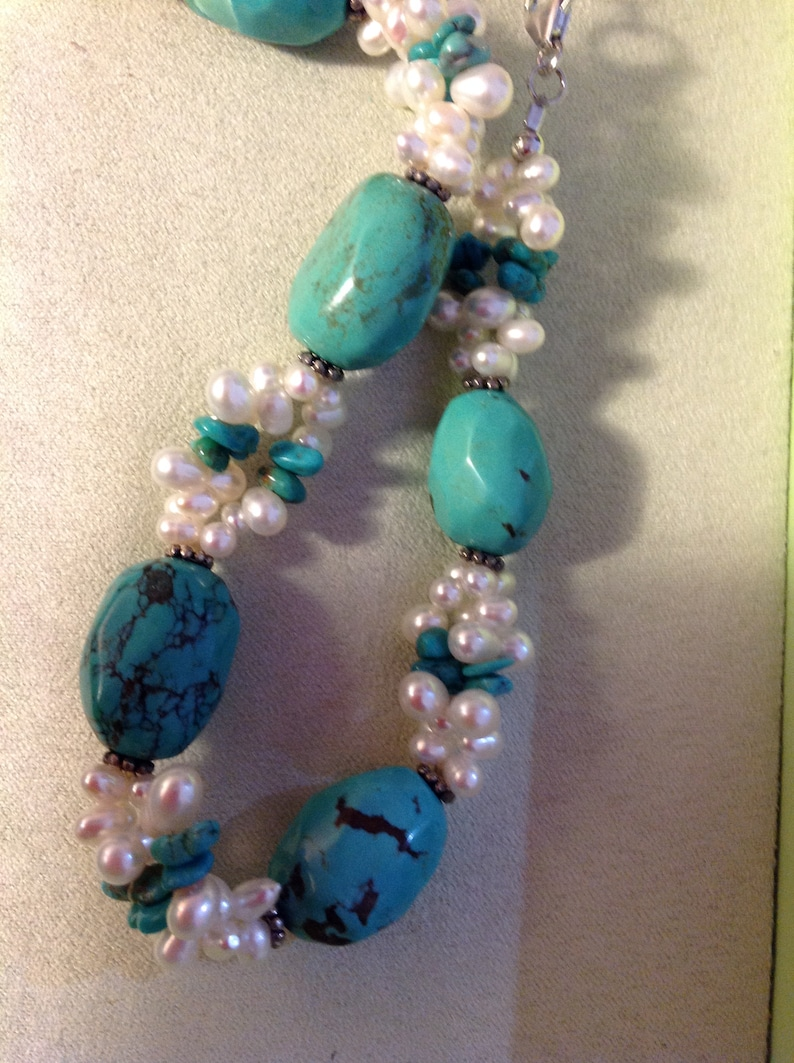 Ross Simons~Chunky /& Chip Turquoise Necklace wRice Pearls and Earring Set~EVC