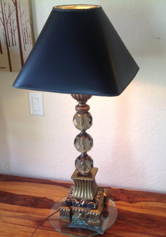 Vintage Italian Marble Stacked Crystal Prism Table Lamp Etsy
