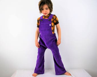 Childrens dungarees Kids overalls Purple romper Cotton corduroy Unisex Traditional retro style dungarees