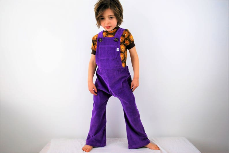 Unisex kids dungarees purple childrens overalls cotton image 0