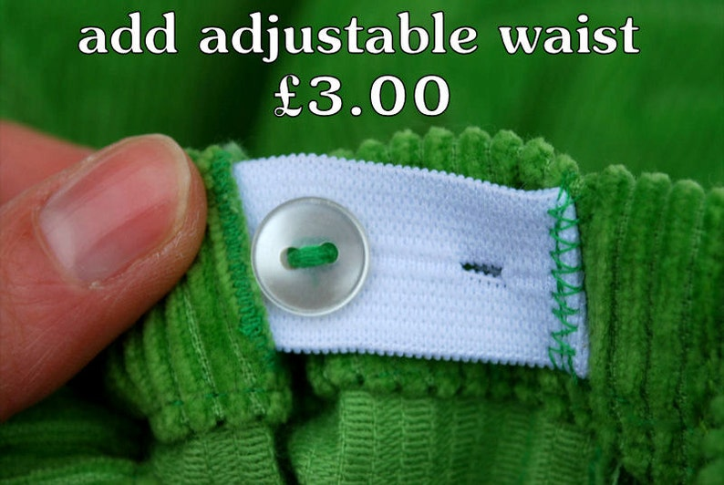 Adjustable waist optional extra feature for Nutkids trousers image 0