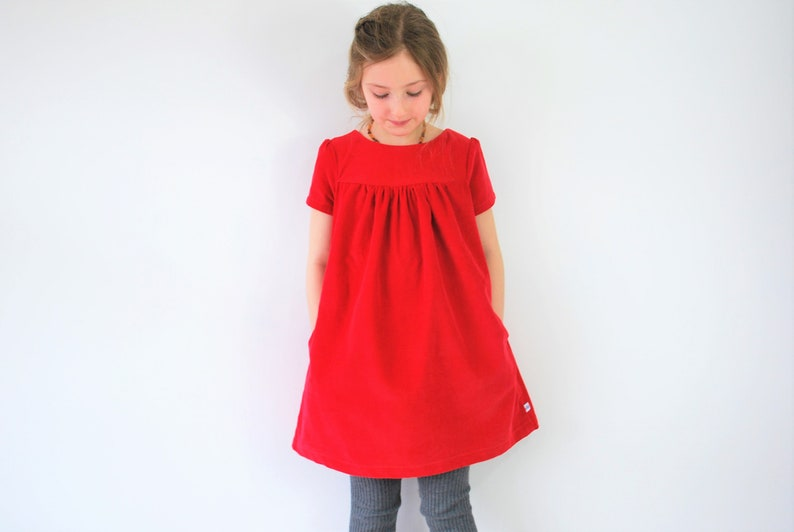 SALE  7-8yrs girls red dress corduroy pinafore pocket jumper image 0