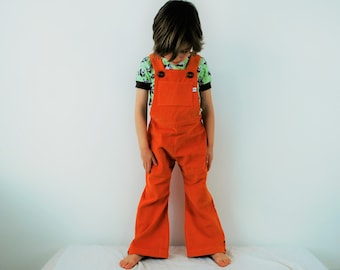 Kids overalls Childrens dungarees Orange childs vintage style outfit traditional retro style romper cotton corduroy traditional