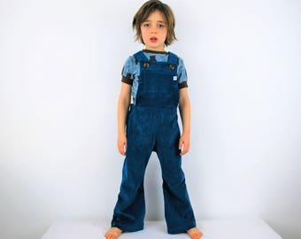 Blue childrens Overalls kids Dungarees romper teal cotton corduroy Kids Unisex outfit traditional retro vintage style