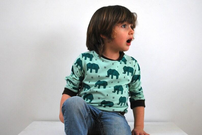 Kids elephant top. girls boys retro sweater. cute. elephants. image 0