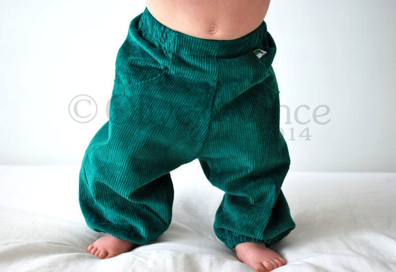 Childrens corduroy trousers. Teal petrol blue. baby corduroy image 0