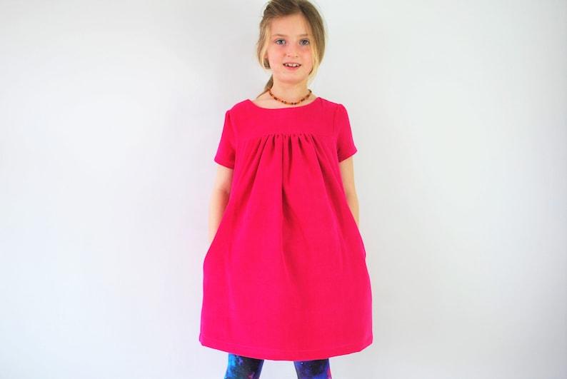 SALE  Pink dress smock 7-8yrs SALE cerise cord kids pinafore image 0