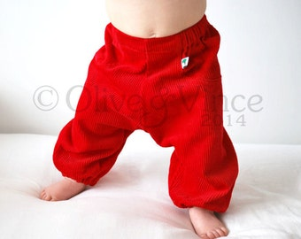 Kids red corduroy trousers Childrens harem pants Baggy childrens trousers outfit Loose fitting style