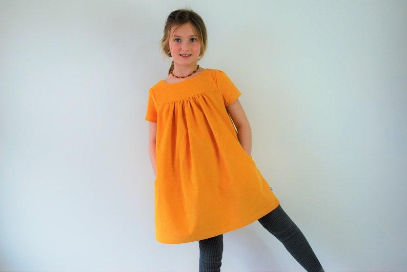 SALE  Girls yellow dress corduroy smock 7-8yrs ready to ship image 0