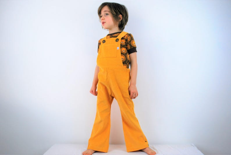 Yellow childrens overalls. unisex dungarees. boys girls autumn image 0
