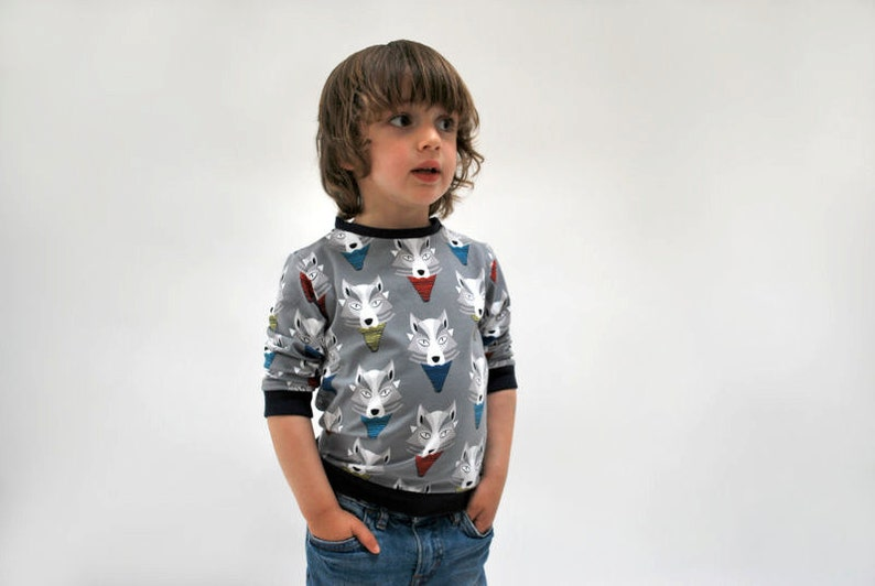 Jersey sweater wolf top jumper wolves print soft grey organic image 0