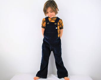 Kids Corduroy overalls Navy blue Childrens dungarees Kids overalls Unisex clothing retro vintage traditional style outfit