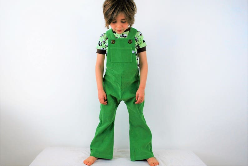 Kids green dungarees. boys overalls. girls outfit. unisex. image 0