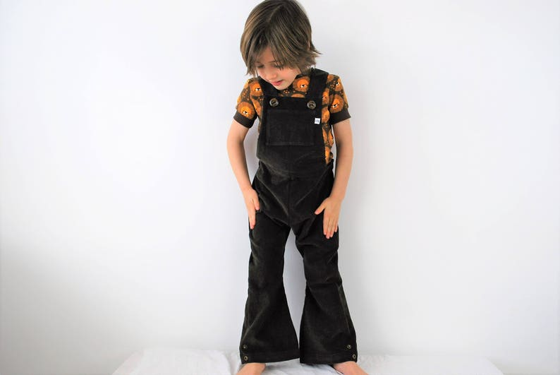 Kids dungarees boys girls overalls retro flared or straight image 0