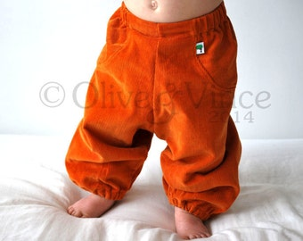 Orange kids pants childrens trousers Baggy Harem boys girls unisex style Kids outfit pants Loose fit style