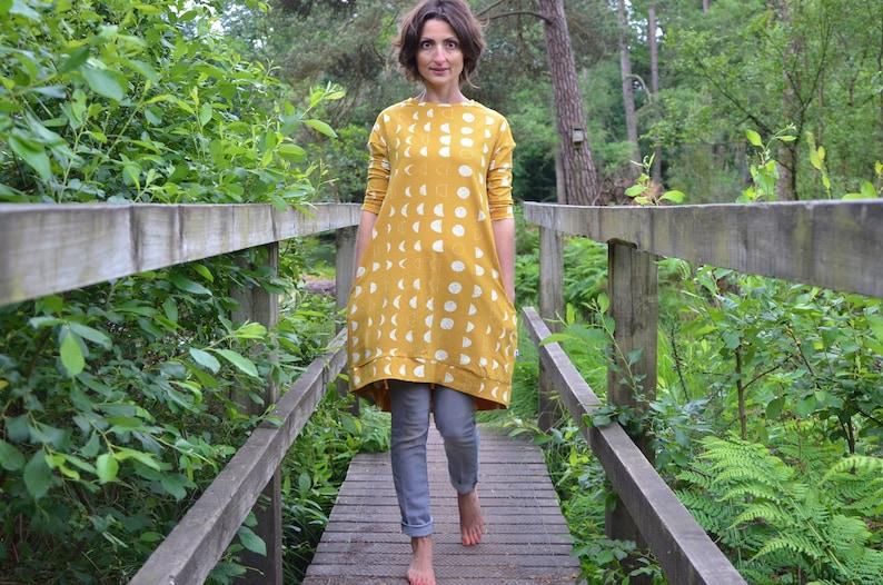 SALE  Ladies jersey dress. size 6. mustard yellow. lunar image 0