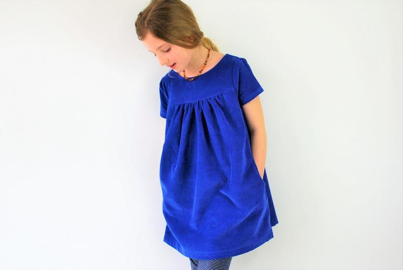 Girls corduroy dress. Blue cord pinafore. smock pocket fall image 0