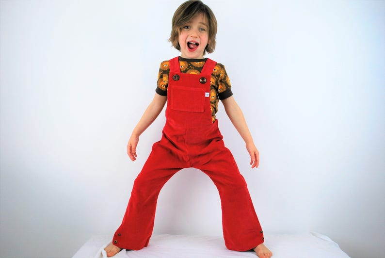 f593dc26f Childrens red dungarees. Boys. Girls. Unisex overalls. Kids
