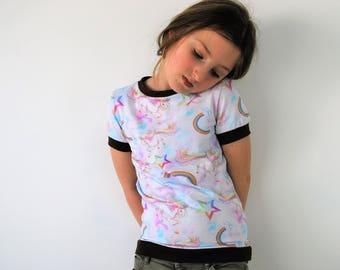 Rainbow unicorn kids  t shirt top fitted style pastel kitsch girls unicorn cute cotton star print baby vest soft tee toddler t-shirt