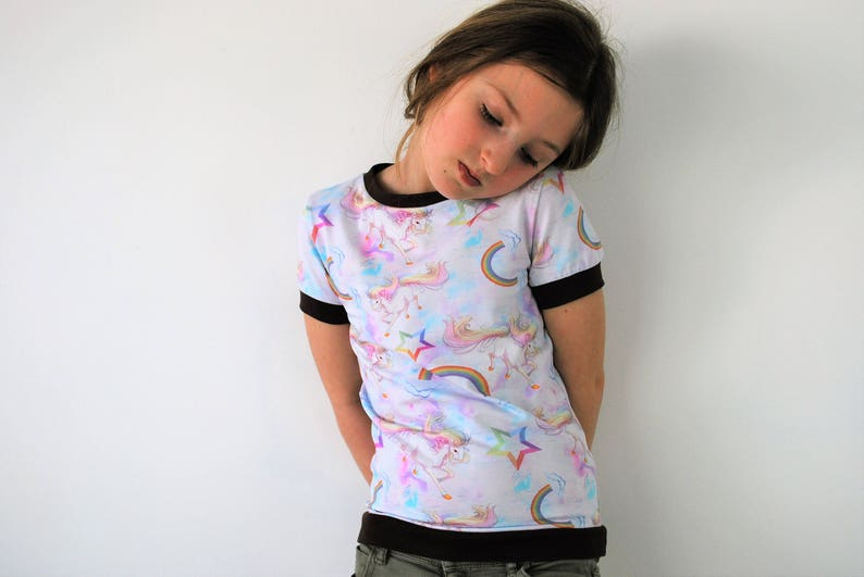 Rainbow unicorn t shirt top fitted style pastel kitsch image 0