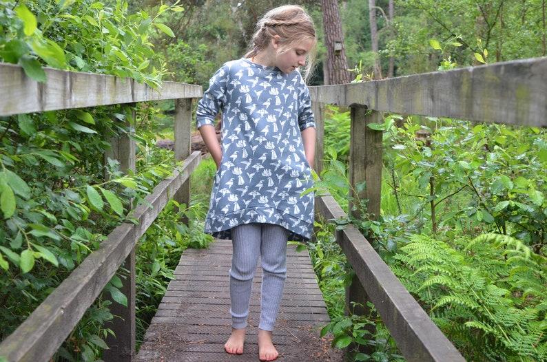 Girls jersey dress. grey bird print. autumn. kids pocket image 0